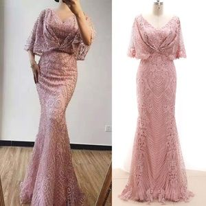 Mermaid Dusty Rose Pageant Prom Gown Evening Dress
